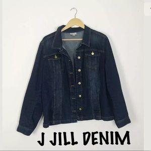 J Jill Denim Button Front Stretch Jean Jacket Sz L
